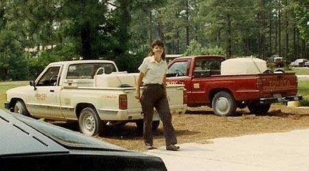 Bonnie Reid with NEW-TEC trucks in 1988.